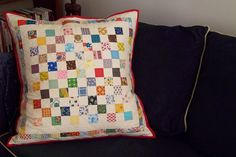 Postage Stamp Pillow Finished