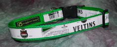 Adjustable Dog Collar from recycled Veltins Beer Labels by squigglechick on Etsy