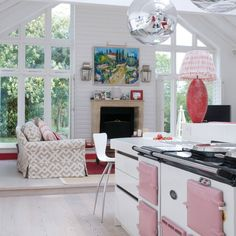 Want open-plan living room? Take a look at these brilliant and creative ways to create an open-plan seating area in your home Aga Kitchen, Open Plan Kitchen, Kitchen Living, Country Kitchen, Cosy Kitchen, Kitchen White, Kitchen Ideas, Country Stil, Country Style Living Room