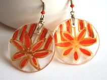 Medium Round Flower Orange and Gold Glass Earrings