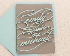 Monogram Wedding Invitation Sample - unique, cutout, wrap design with customizable colors via Etsy