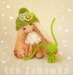 Hello World) It's new Bunny-Doll. Miniature. Baby grows 11cm. Completely made from 100% cotton. Only the cap is removed. Completely on wire frame. The eyes are embroidered. She can stand. Green Bunny - her friend) Bunny grows 4cm. Completely handmade. Shipping free anywhere in the World. Doll Sold out. #eco_zabawka