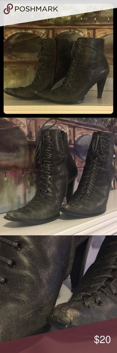 """NINE WEST Booties Distressed lace-up ankle boots by Nine West. Dark gray color. Some scuffs on both toes, but adds to the distressed look. 3"""" heel. Wear these with that black velvet number and dark red lips for a sexy goth look. Nine West Shoes Ankle Boots & Booties"""