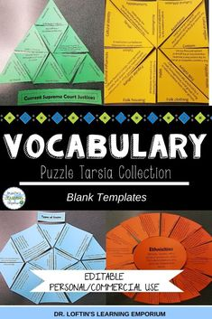 Vocabulary puzzles provide a hands-on, engaging way for students to learn, practice, and review vocabulary. They're also great for assessments. These puzzles, sometimes known as Tarsia puzzles, can be used for multiple grade levels and any subject that uses vocabulary. Check them out! #Vocabulary #TarsiaPuzzles Teaching Vocabulary Activities, Social Studies Activities, Teaching Language Arts, Teaching Chemistry, Special Education Classroom, Classroom Resources, School Classroom, Ap Environmental Science, Ap Human Geography