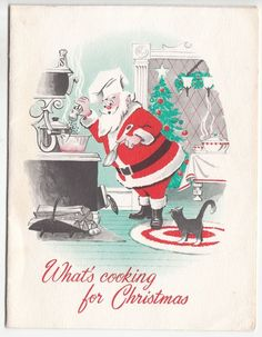 Vintage Santa Cooking Christmas Dinner with Cat Greeting Card