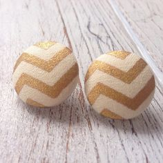 """Gold&white chevron fabric button earrings Fabric gold & white chevron pattern button earrings are made by me. Brand new of course! Earrings measure approximately 3/4"""" around. Stud backings (nickel & lead free!). Jewelry Earrings"""