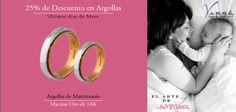 Súper Promoción ♥♥♥  25% de Descuento en Argollas, ven visítanos y aparta con $1,000 pesos. Valido del 27 al 30 de Mayo... Argollas de Matrimonio Oro & Platino #mayo #eshoradecompartir #momentos #jueves #yonovia #joyería #amor #tbt #compromiso  #argollasdematrimonio #amor