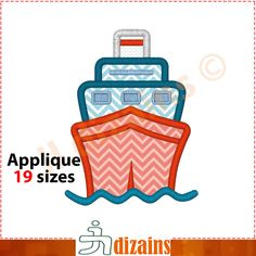 Cruise Ship Applique Design  Machine Embroidery