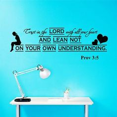 Wall Decal Bible Verses Psalms Proverbs 3:5 Trust In The LORD Vinyl Sticker 3579