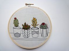 Embroidery Art 'Pots in a Row' 5 inch Stitch art by Cheese Before Bedtime