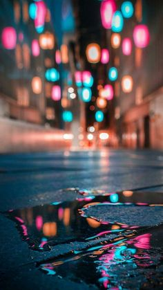 get off my phone wallpaper magical street lights in a puddle magical street lights in a puddle Bokeh Photography, City Photography, Creative Photography, Amazing Photography, Landscape Photography, Photography Reflector, Photography Books, Photography Ideas, Abstract Photography