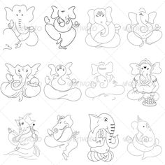 """Ganesha Religious Vector Designs Pack #GraphicRiver """"High quality vector with smooth curves and sharp edges. This vinyl ready ganesha hindu religious vector design clip art is ideal for screen, offset, digital and large format printing, These are also used for digital screens, routing, engraving, carving, stencils and embroidery etc. - pack contains 12 ganesha religious vector designs - pack include version EPS, JPG"""" Created: 26April13 GraphicsFilesIncluded: JPGImage #VectorEPS Layered: No…"""
