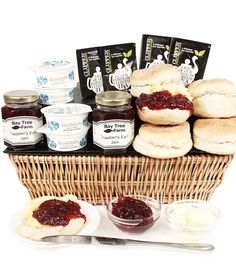 Our delicious Westcountry Cream Tea Basket www.eden4hampers.co.uk Cream Tea, Gifts Delivered, Flowers Delivered, Hampers, Simple Gifts, Fudge, Tea Party, Raspberry, Bouquet