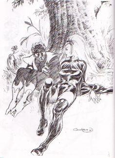 dave cockrum | Dave Cockrum 1975 Sketch: Nightcrawler & Storm