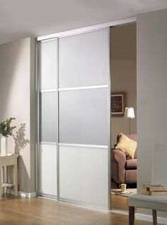 Beautiful Beautiful Sliding Room Divider Design Idea In Gray With Two Panels And  Single Rail Installed In Brown Wall Paint Color