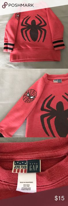 Gap kids Junk Food Spider-Man sweatshirt Cute red and black Spider-Man sweatshirt in size 3t. Great condition with zero hold. Comes from a smoke and pet free home. GAP Shirts & Tops Sweaters