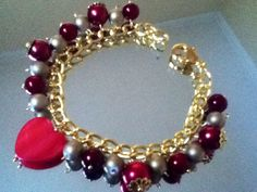 Red beaded bracelet with heart :)