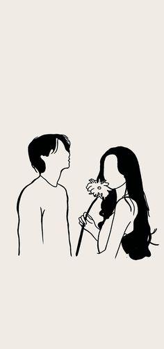 Cute Couple Drawings, Cute Couple Cartoon, Cute Couple Art, Cute Love Cartoons, Cute Drawings, Cute Couple Wallpaper, Cute Pastel Wallpaper, Neon Wallpaper, Cover Wattpad