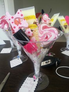 Giant Cosmo glasses filled with goodies!  #henpartyideas