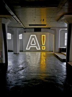 l Neon Signage Designs Wayfinding Signage, Signage Design, Typography Design, Lettering, Environmental Graphic Design, Environmental Graphics, Light Art, Neon Lighting, Magazine Design