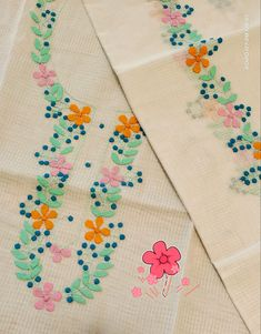 Indian Embroidery Designs, Zardozi Embroidery, Embroidery On Kurtis, Kurti Embroidery Design, Basic Embroidery Stitches, Hand Embroidery Flowers, Simple Embroidery, Applique Designs, Embroidery Patterns