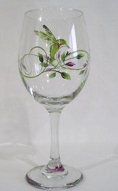 Humming Bird Wine Glass by hattie
