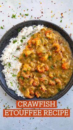 Crawfish Recipes, Cajun Recipes, Curry Recipes, Seafood Recipes, Cajun Food, Cooking Recipes, Etouffee Recipe, Shrimp Etouffee, Shrimp Dishes