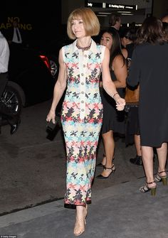 The queen in residence: American Vogue editor-in-chief Anna Wintour arrived in a multicoloured dress and nude heels