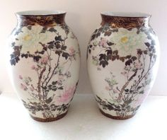 Pair of Antique Japanese Kutani Hand Painted Vases  - $695