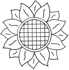 """Sunflower """"Prairie Sunflower""""- design for 9 inch block. This would be good for the setting blocks between Prairie Flower blocks.""""Prairie Sunflower""""- design for 9 inch block. This would be good for the setting blocks between Prairie Flower blocks. Sunflower Stencil, Sunflower Template, Sunflower Crafts, Sunflower Quilts, Sunflower Pattern, Sunflower Design, Sunflower Colors, Free Motion Quilting, Hand Quilting"""