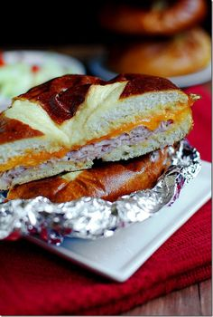 Baked Ham and Cheese Pretzel Sandwiches with Garlic Butter