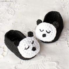 Sleepy Panda Baby Booties Free Pattern