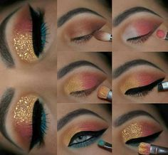 Winged Eyeliner Stamp India about Eye Makeup Looks Crazy. Eye Makeup Looks Step By Step onto What Colour Eyeliner Looks Good With Brown Eyes Teal Eye Makeup, Red Dress Makeup, Makeup Eye Looks, Eye Makeup Steps, Cute Makeup, Eyeshadow Looks, Pretty Makeup, Skin Makeup, Eyeshadow Makeup