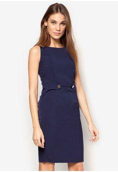 Button Tab Sheath Dress