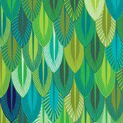 tissu green aqua feathers in bright