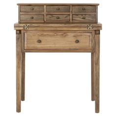 Pine wood fold-down writing desk.    Product: Desk    Construction Material: Pine wood    Color: ...