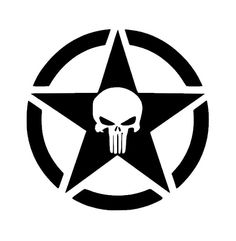 PUNISHER JEEP Military Star Vinyl Decal by RestlessHousewifeNC