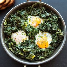 Oh man, this is definitely going to be my new bachelor food. Spicy Simmered Eggs with Kale | Williams-Sonoma