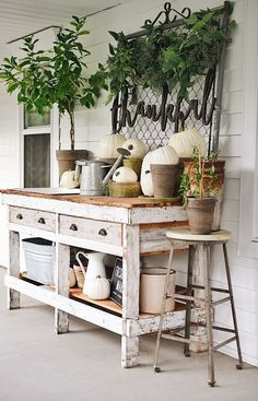 When the sun starts to shine and the weather grows warm, it is fun to celebrate the fresh spring season by decorating your home. The list of 50 Beautiful Spring Decorating Ideas for Front Porch below can help make your… Continue Reading → Outdoor Potting Bench, Potting Tables, Rustic Potting Benches, Garden Benches, Porch Decorating, Decorating Your Home, Decorating Ideas, Decor Ideas, Veranda Design