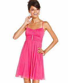 Ruby Rox Juniors Dress, Spaghetti-Strap Glitter Sash