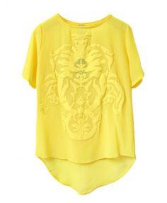 Yellow High Low Chiffon T-shirt