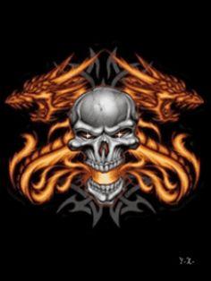 Evil Skulls animated | Animated Skull'n Fire Dragon