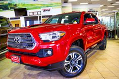 The showroom floor just got an upgrade! How do you like this 2016 2016 Tacoma, Tacoma Trd, Red Mccombs, Showroom, Toyota, Trucks, Floor, Vehicles, Sexy