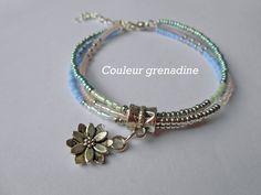 Bracelet perles de miyuki fleur de lotus : Bracelet par couleur-grenadine33