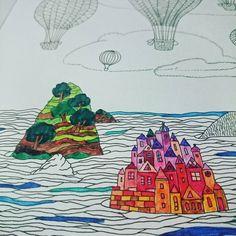 """""""Zrobiło się za zimno - uciekamy na #Wyspy ;) #anitagraboś #kolorowanka #colouring #colouringbook #relax #colorful #colorfull #mazaki #colouringpages #love…"""""""