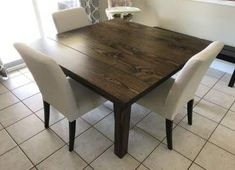 The James+James Square Farmhouse Table is fully customizable, pictured here at Diy Dining Room Table, Walnut Dining Table, Dining Sets, Square Kitchen Tables, Square Tables, Contemporary Kitchen Tables, Diy Farmhouse Table, Solid Wood Table, Rustic Modern