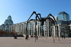 Ottawa, Canada. Louise Bourgouis sculpture in front of the National Gallery of Canada