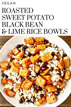 Roasted Sweet Potato, Black Bean & Lime Rice Bowls - A colorful, tasty, satisfying, protein-packed, budget friendly meal on the table in about 30-40 minutes. via @thiswifecooks