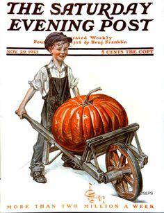 Pumpkin in Wheelbarrow (J.C. Leyendecker, November 29, 1913)