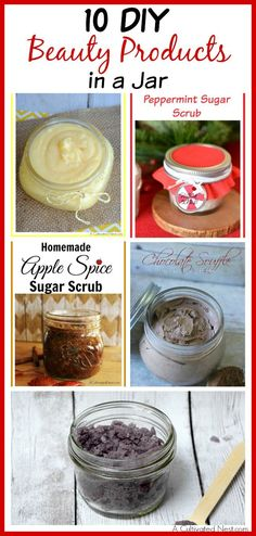 It's so easy to make your own beauty products! Try making one of these 10 DIY beauty products in a jar! These make great handmade gifts!